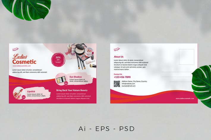 Cosmetics Product Postcard Design