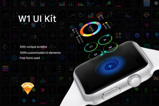 W1 UI Kit for watch Apps by Yuriy_Kondratkov on Envato Elements