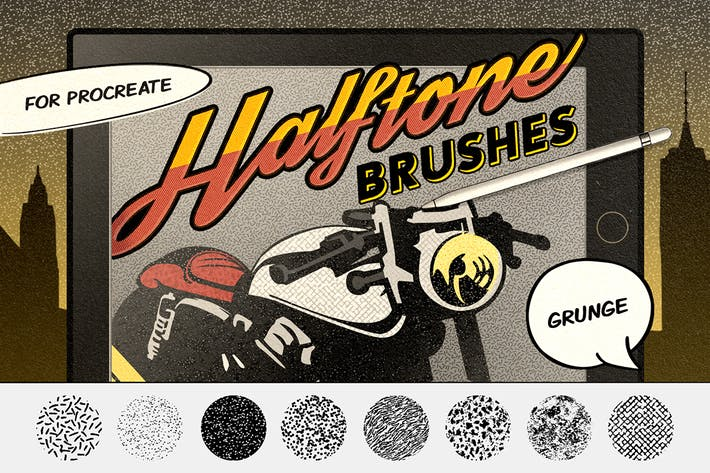 Thumbnail for Vintage Comics: Grunge Procreate Brushes