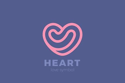 Heart Love Logo Design Linear Outline style