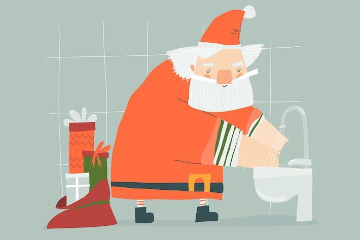 Thumbnail for Christmas Santa Claus Washes Hands. Vector illustr