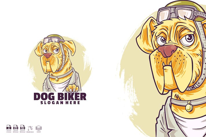 Dog biker logo template