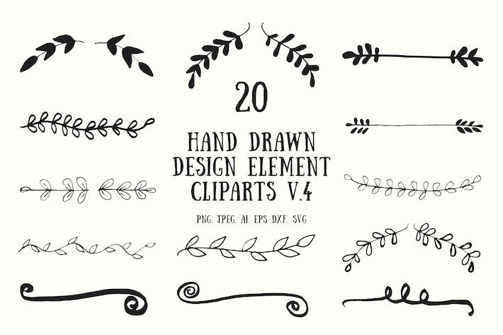 Thumbnail for 20 Hand Drawn Design Element Cliparts Ver. 4