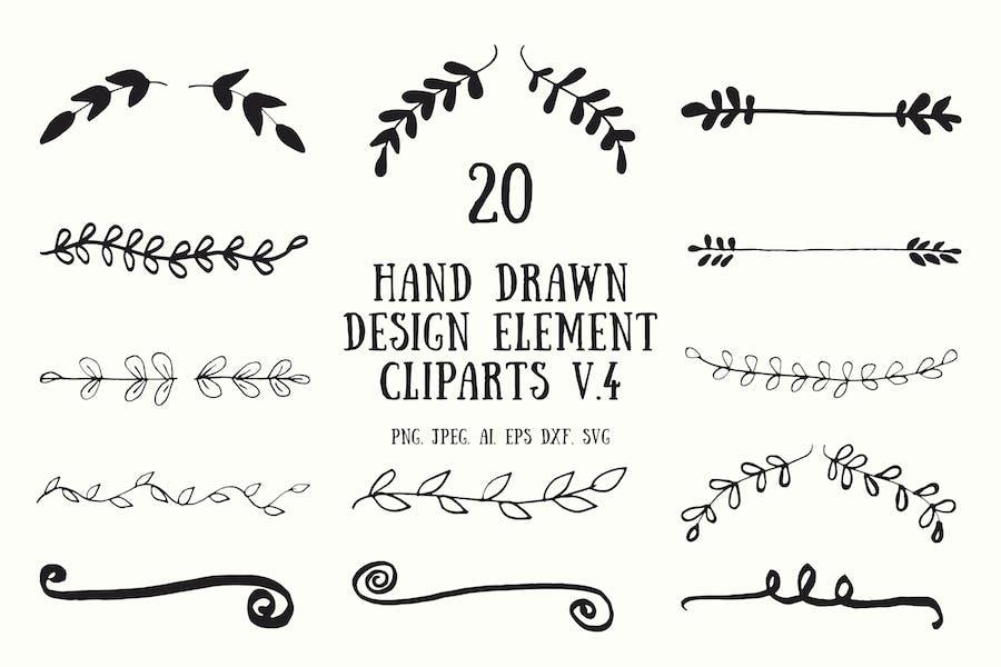 20 Hand Drawn Design Element Cliparts Ver. 4