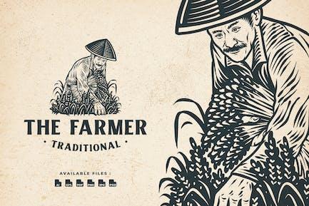Farmer Vintage Engraving Logo