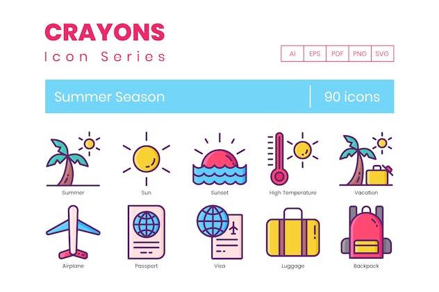 90 Summer Season Line Icons