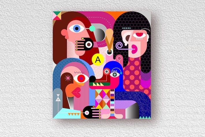 Thumbnail for Tres Mujeres y un perro Vector ilustración