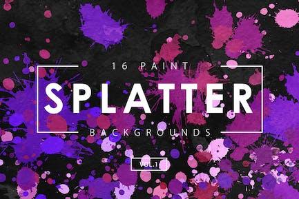 16 Paint Splatter Backgrounds Vol. 1