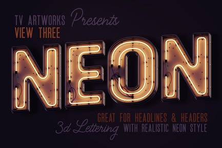 Modern Neon 3D Lettering View 3