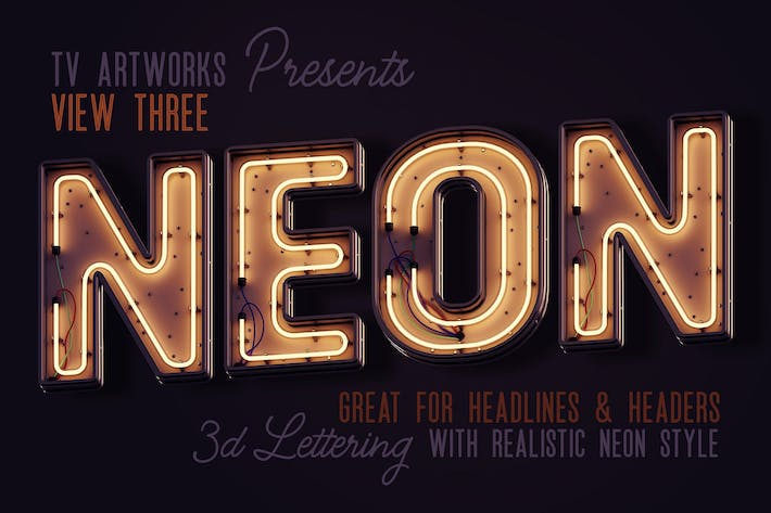 Thumbnail for Modern Neon 3D Lettering View 3