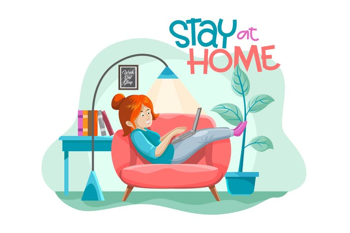 Cover Image For STAY AT HOME - Illustration vector