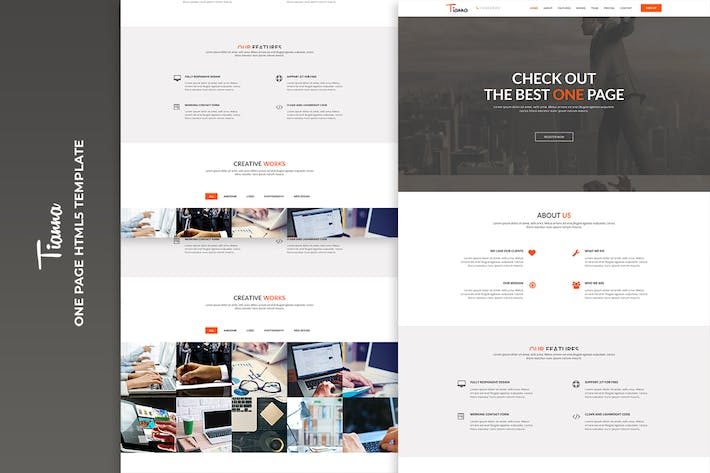 Thumbnail for Tianna - One Page HTML5 Template