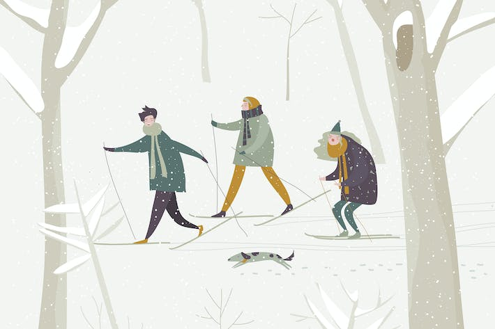 Thumbnail for People skiing in the winter snowing forest. Vector