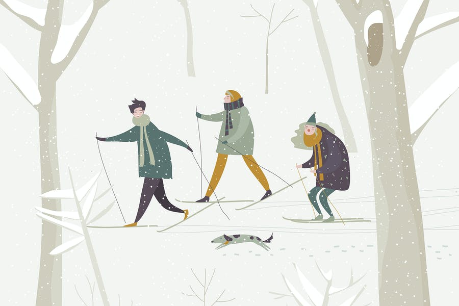 People skiing in the winter snowing forest. Vector