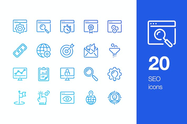 Thumbnail for 20 SEO icons