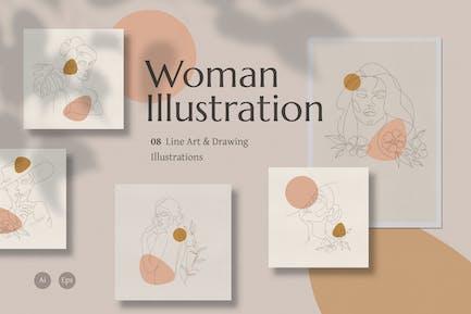 Line Art Woman Illustration
