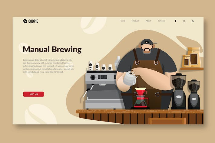 Thumbnail for Manual Brew Coffee - Landing Page Ilustration