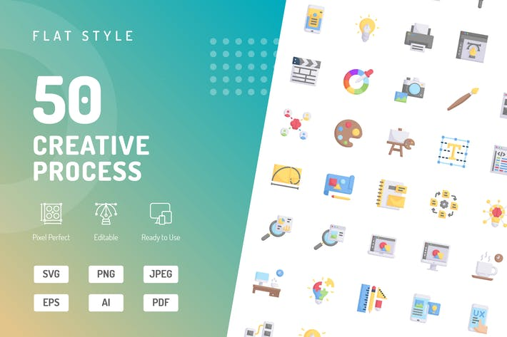 Thumbnail for Creative Process Flat Icons