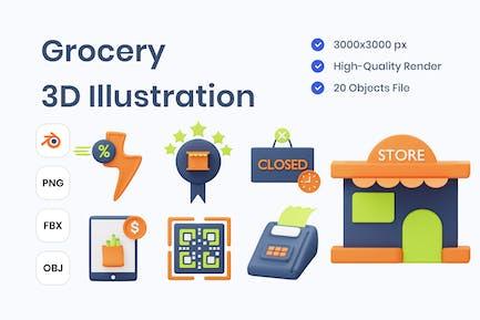 Grocery 3D Illustration