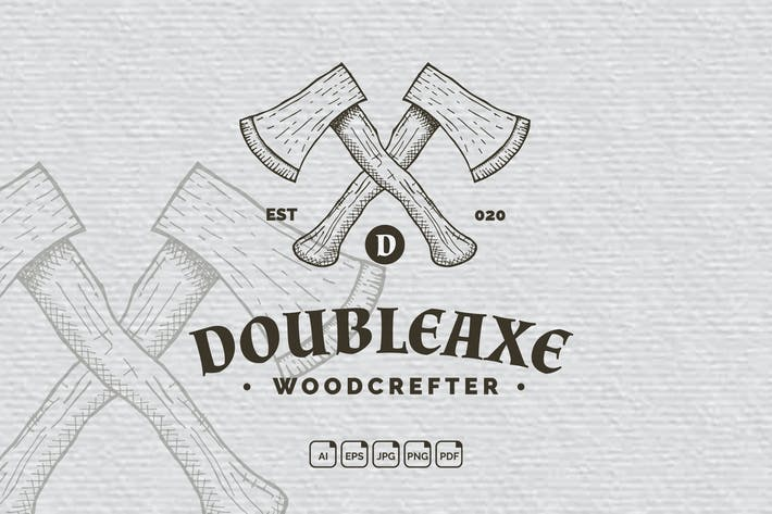 Thumbnail for Double Axe Vintage Handdrawn Logo