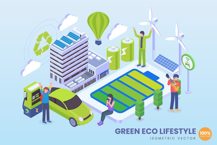 Thumbnail for Isometric Green Eco Lifestyle Vector Concept