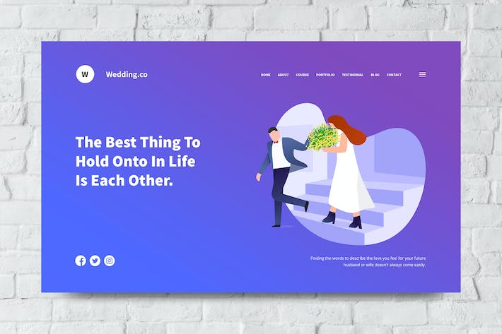 Thumbnail for Wedding Web Header PSD and Vector Template