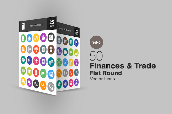 Thumbnail for 50 Finances & Trade Flat Round Icons