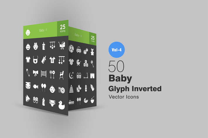 Cover Image For 50 Baby Glyph Inverted Icons