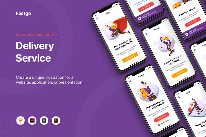 Thumbnail for FASTGO - Delivery Service UI Kit