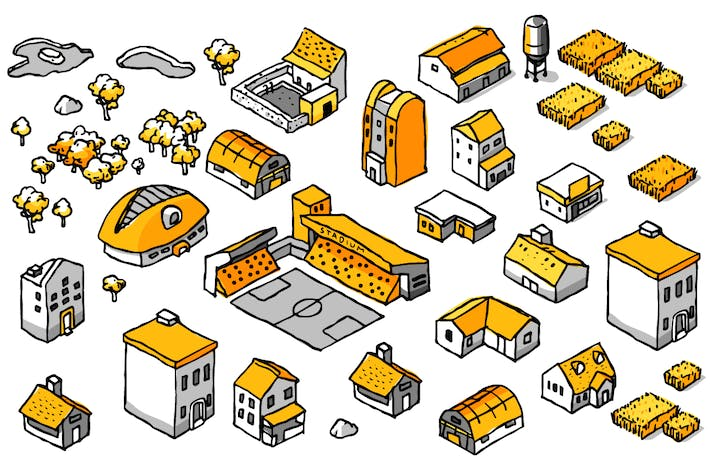 Thumbnail for Drawing Doodle Isometric Building Set.