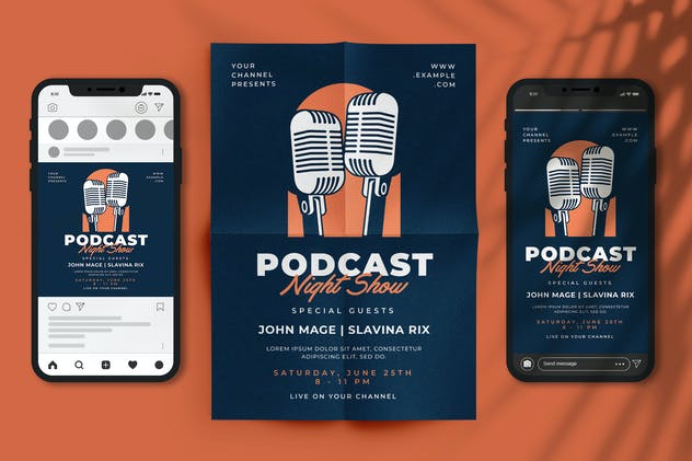 Podcast Night Show Flyer Set
