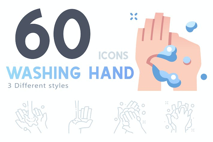 Thumbnail for 60 Washing hand icon set