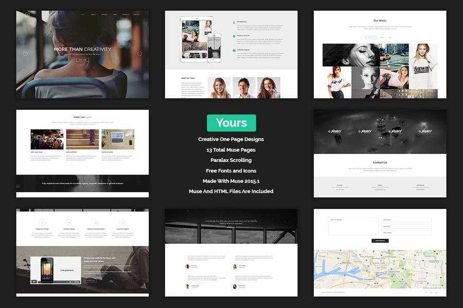 Yours - Creative Onepage Adobe Muse Template