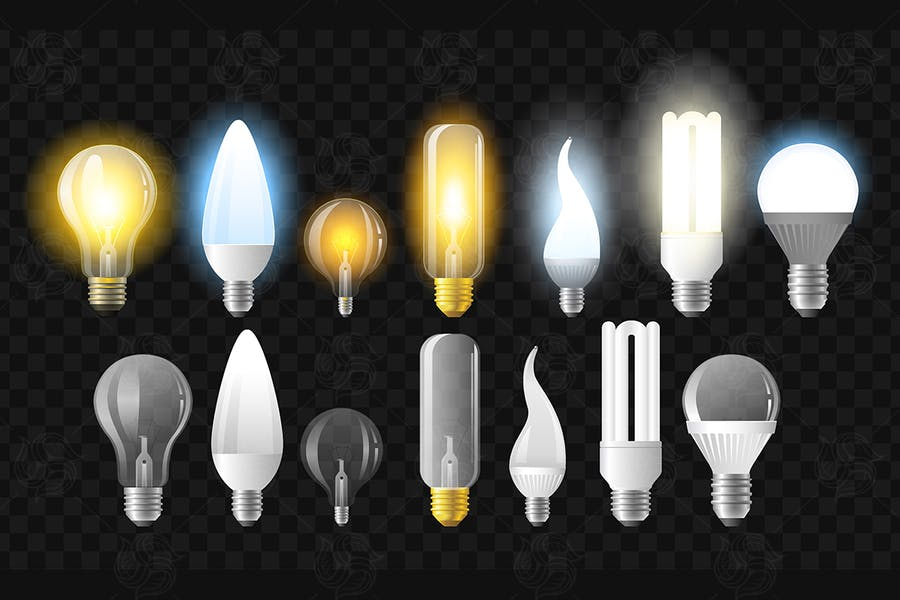 Set of light bulbs - realistic isolated clip art