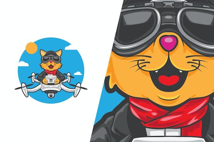 Cat Drone Pilot Vector Illustration