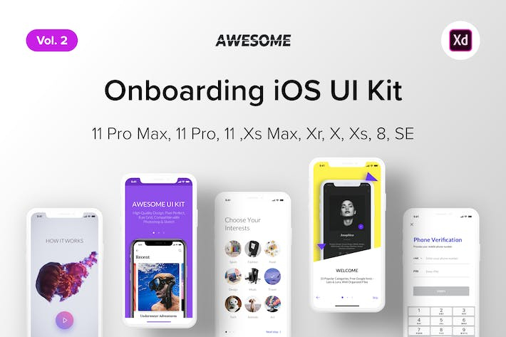 Thumbnail for Awesome iOS UI Kit - Onboarding Vol. 2 (Adobe XD)