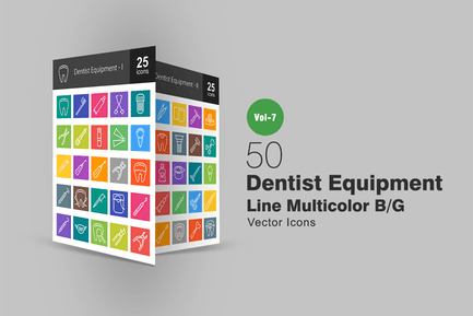 50 Dentist Equipment Line Multicolor B/G Icons