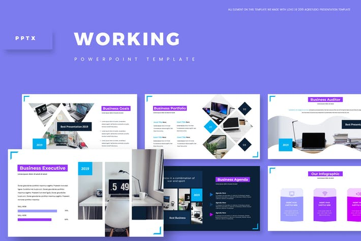 Thumbnail for Working - Powerpoint Template