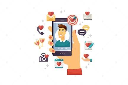 приложение для знакомств онлайн - вектор красочная иллюстрация