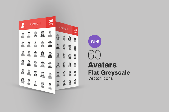 Thumbnail for 60 Avatars Flat Greyscale Icons