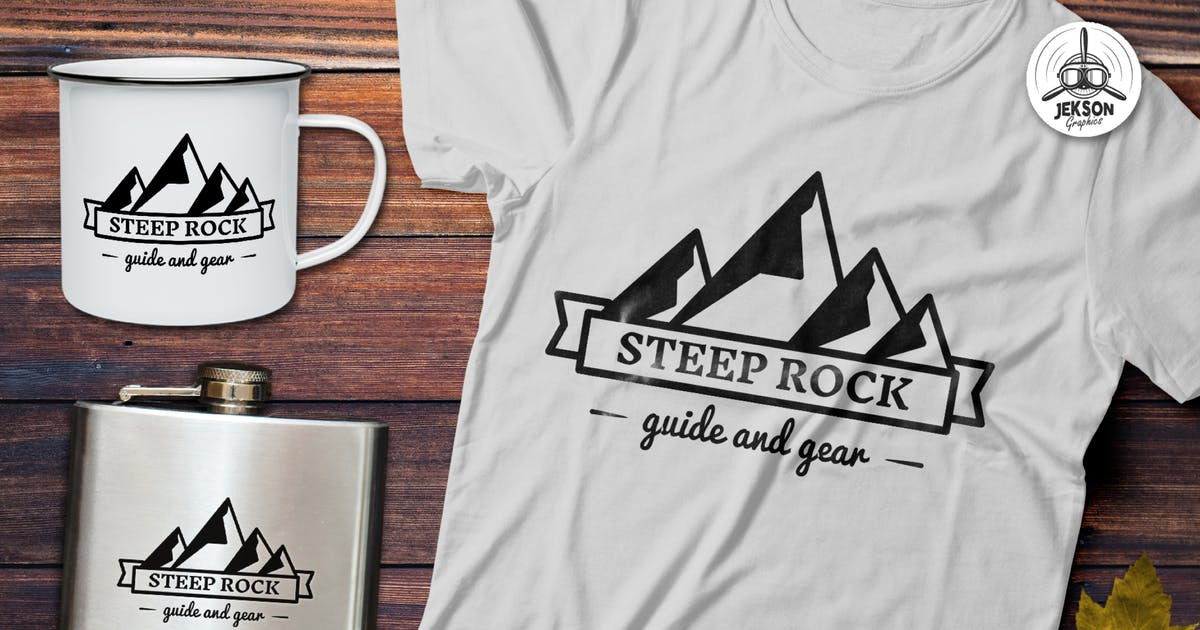 Mountain Vector Logo, Retro Camping Badge Template by JeksonJS