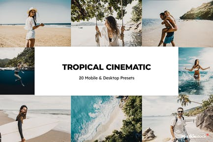 20 Tropical Cinematic Lightroom Presets & LUTs