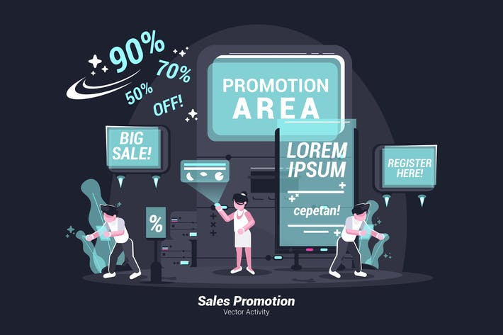 Продвижение продаж - Вектор иллюстрация