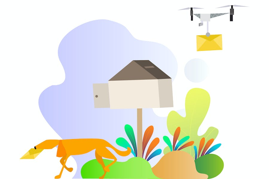 Drones Mail Delivery Illustration