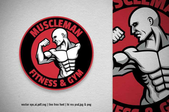 Thumbnail for muscle man fitness gym sport logo