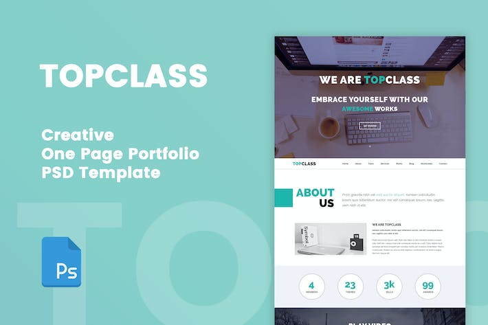 Thumbnail for TOPCLASS - One Page Creative PSD Template