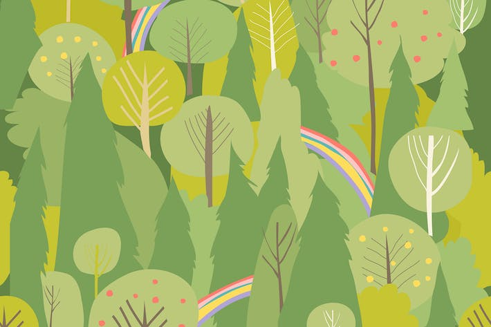 Thumbnail for Seamless vector summer forest pattern. Summer back