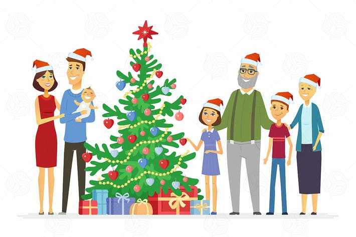 Cover Image For Family celebrates Christmas - vector illustration
