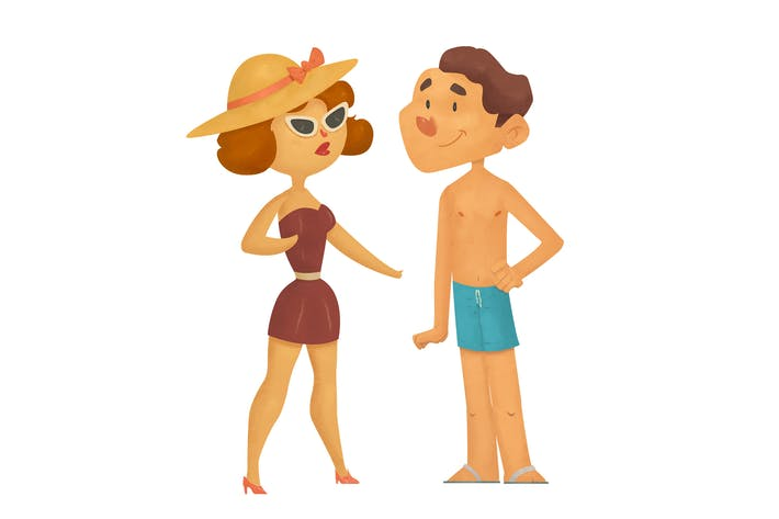 Thumbnail for Couple On The Beach In Swimwear Illustration