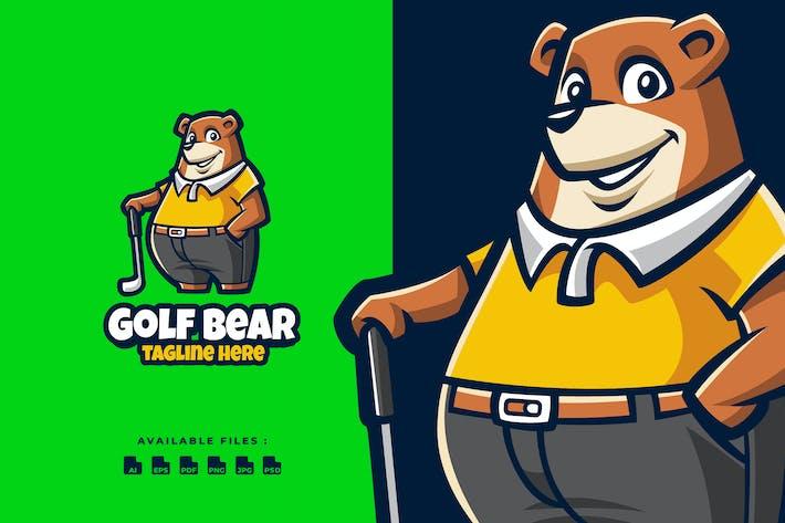 Golf Bear Cartoon Logo
